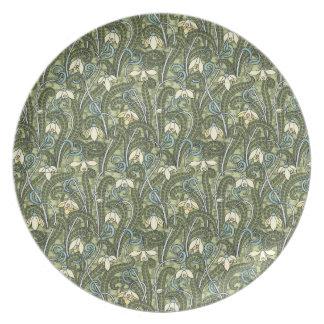 Art Nouveau Snowdrop Flower Design Melamine Plate