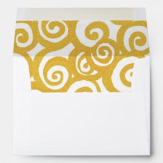 Art nouveau spiral swirls envelope