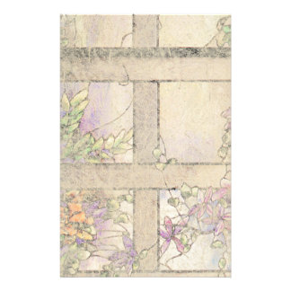 Art Nouveau Stained Glass Clematis Flowers Floral Stationery