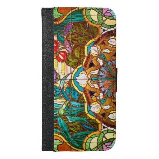 Art nouveau stained glass floral iPhone 6/6s plus wallet case