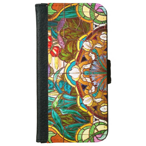 Art nouveau stained glass floral iPhone 6/6s wallet case