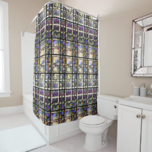Art Nouveau Stained Glass Flowers Shower Curtain