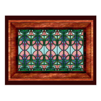Art Nouveau Stained Glass in Wooden Frame Postcard