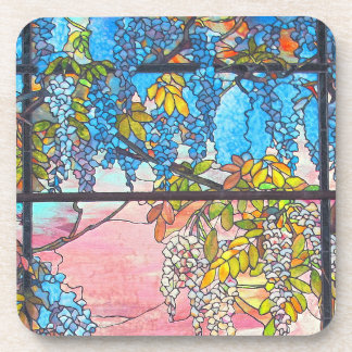 Art Nouveau Stained Glass Wisteria Floral Coaster