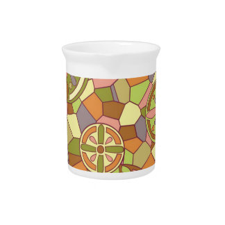 Art nouveau stained glasses beverage pitchers