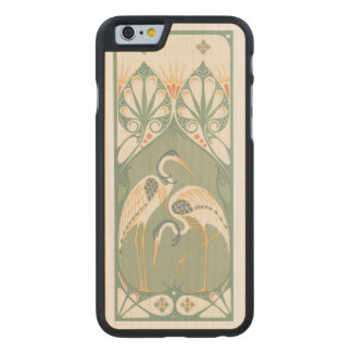 Art Nouveau Storks Carved® Maple iPhone 6 Slim Case