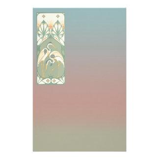 Art Nouveau Storks Stationery