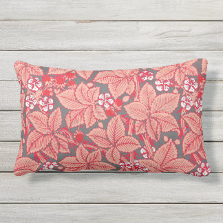 Art Nouveau Strawberries and Leaves, Coral Orange Lumbar Pillow