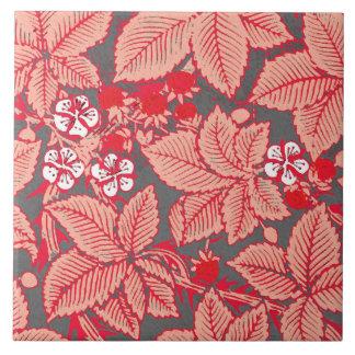 Art Nouveau Strawberries and Leaves, Coral Orange Tile
