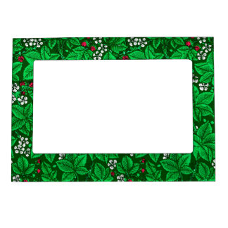 Art Nouveau Strawberries and Leaves, Emerald Green Magnetic Picture Frame