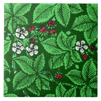 Art Nouveau Strawberries and Leaves, Emerald Green Tile