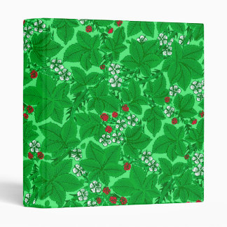 Art Nouveau Strawberries and Leaves, Lime Green 3 Ring Binder
