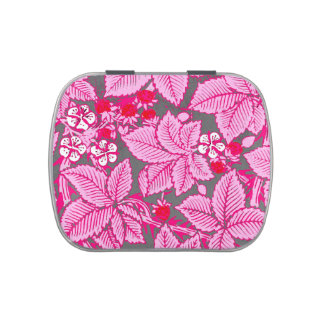 Art Nouveau Strawberries and Leaves, Pink and Gray Jelly Belly Tin