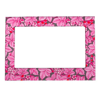 Art Nouveau Strawberries and Leaves, Pink and Gray Magnetic Picture Frame
