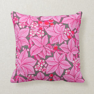 Art Nouveau Strawberries and Leaves, Pink and Gray Throw Pillow