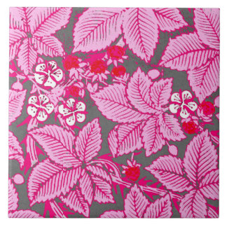 Art Nouveau Strawberries and Leaves, Pink and Gray Tile
