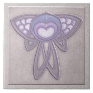 Art Nouveau Style Insect - Pale Mauve and Lavender Large Square Tile