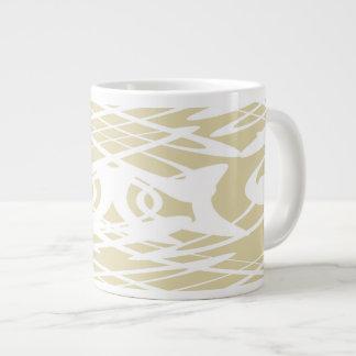 Art Nouveau Style Pattern in Beige and White. Jumbo Mug