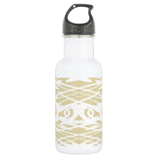 Art Nouveau Style Pattern in Beige and White. Stainless Steel Water Bottle