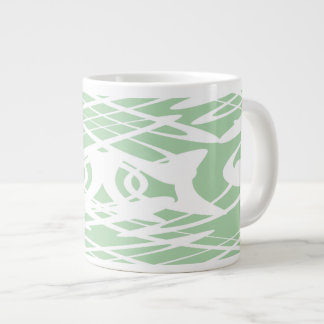 Art Nouveau Style Pattern in Light Green and White Jumbo Mugs