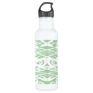 Art Nouveau Style Pattern in Light Green and White Water Bottle