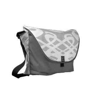 Art Nouveau Style Pattern in Pale Gray and White. Courier Bag