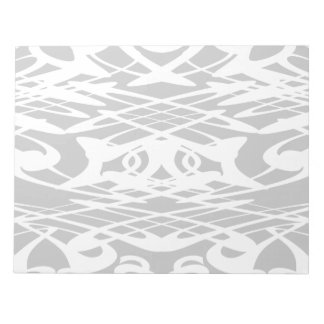 Art Nouveau Style Pattern in Pale Gray and White. Notepad