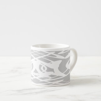 Art Nouveau Style Pattern in Pale Gray and White. Espresso Cup