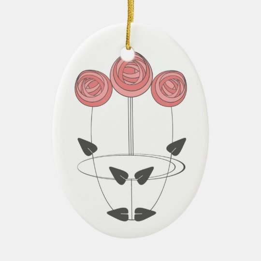 Art Nouveau Style Rose Bouquet in Pink and Grey Ceramic Ornament