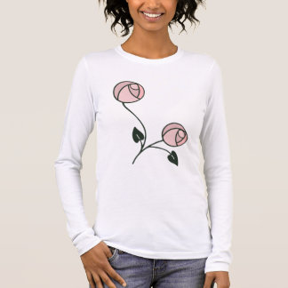 Art Nouveau Style Roses in Pink and Mauve Long Sleeve T-Shirt