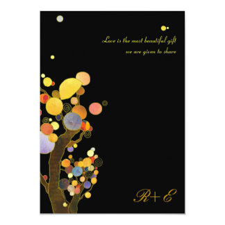 Art Nouveau Style Whimsical Trees Black Wedding Card