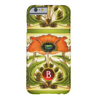 ART NOUVEAU  STYLIZED GREEN RED POPPY GEM MONOGRAM BARELY THERE iPhone 6 CASE