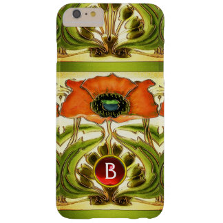 ART NOUVEAU  STYLIZED GREEN RED POPPY GEM MONOGRAM BARELY THERE iPhone 6 PLUS CASE