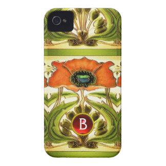 ART NOUVEAU  STYLIZED GREEN RED POPPY GEM MONOGRAM Case-Mate iPhone 4 CASE