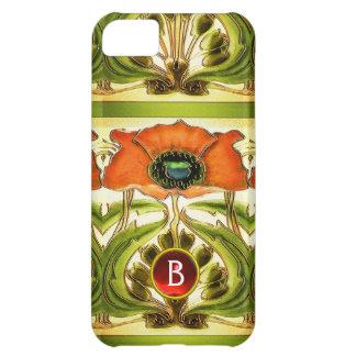 ART NOUVEAU  STYLIZED GREEN RED POPPY GEM MONOGRAM iPhone 5C CASE