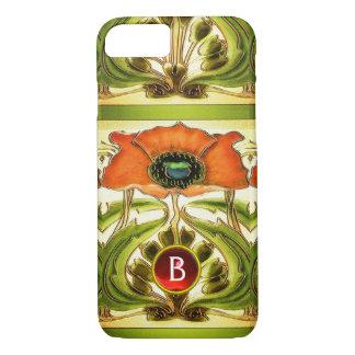 ART NOUVEAU  STYLIZED GREEN RED POPPY GEM MONOGRAM iPhone 7 CASE