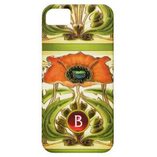 ART NOUVEAU  STYLIZED GREEN RED POPPY GEM MONOGRAM iPhone SE/5/5s CASE