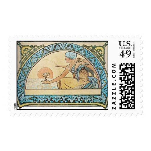Art Nouveau Sunset Postage Stamp