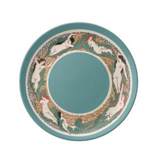 Art Nouveau Swimming Nymphs Porcelain Plate