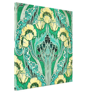 Art Nouveau Swirly Floral Pattern Gallery Wrapped Canvas