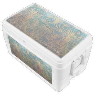Art Nouveau,teal and gold, teal,gold,floral,chic,e Chest Cooler