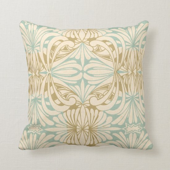 Art Nouveau Teal Cream Tan Floral Throw Pillow