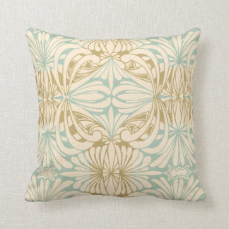 Art Nouveau Teal Cream Tan Floral Throw Pillow