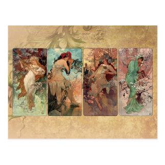 Art Nouveau ~ The Four Seasons Postcard