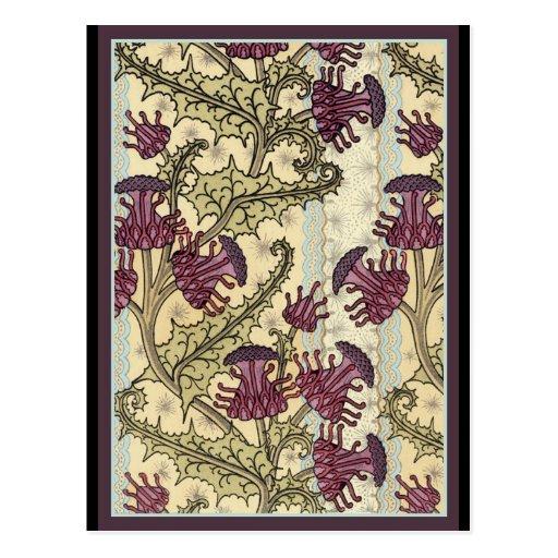 Art Nouveau Thistle flower Postcard