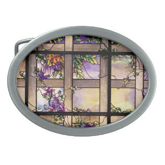 Art Nouveau Tiffany Stained Glass Nature Belt Buckle