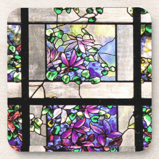 Art Nouveau Tiffany Stained Glass Nature Drink Coaster