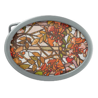 Art Nouveau Tiffany Stained Glass Nature Oval Belt Buckle