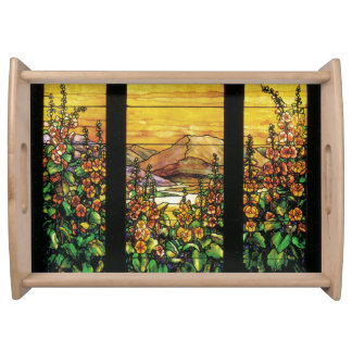 Art Nouveau Tiffany Stained Glass Nature Serving Tray