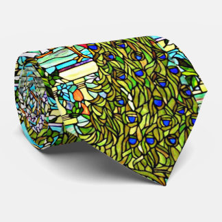 Art Nouveau Tiffany Stained Glass Window Peacock Neck Tie